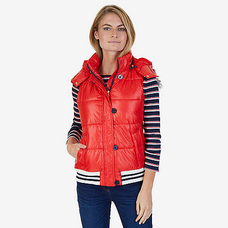 Faux Fur Hooded Puffer Vest - Red