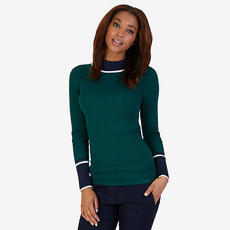 Ribbed Mockneck Sweater - Evergreen