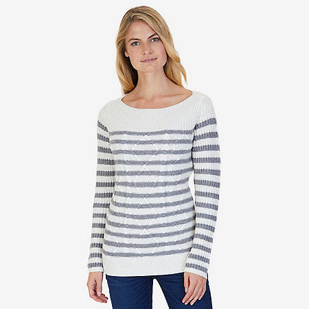 Cable Stripe Sweater - Egret