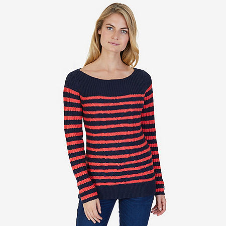 Cable Stripe Sweater - Seaside Red