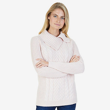 Split Mock Neck Cable Sweater - Oxford Pink