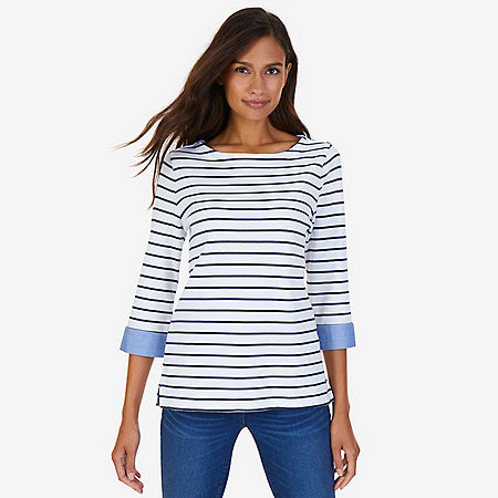 Striped Turnback Cuff Top - Bright White