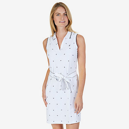 Belted Stretch Pique Polo Dress - Bright White