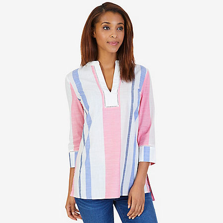 Slub Cotton Striped Tunic - Crimson