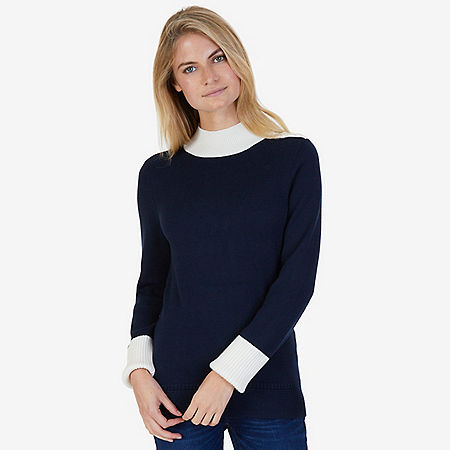 Colorblock Mock Neck Sweater - Dreamy Blue