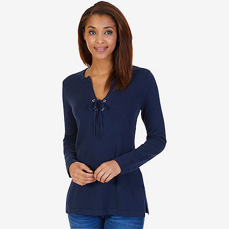 Long Sleeve Laced Tunic Sweater - Dreamy Blue