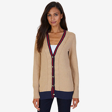 Collegiate V-Neck Cardigan - Brown Heather