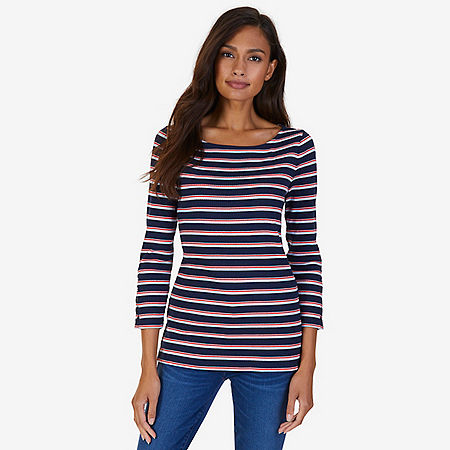 Boatneck Striped Rib Top - Dreamy Blue