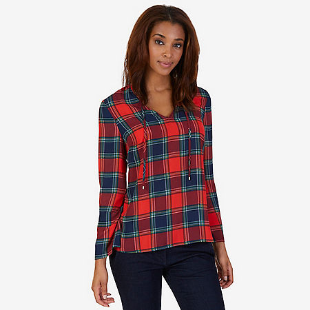 Tartan Plaid Georgette Top - Red
