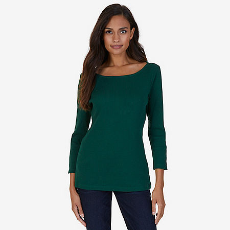 Boatneck Solid Rib Top - Evergreen