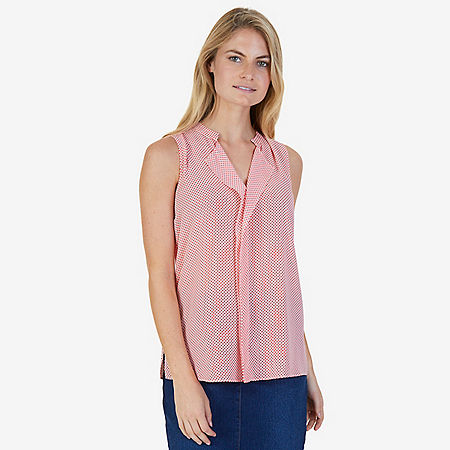 Houndstooth Split Neck Sleeveless Blouse - Seaside Red