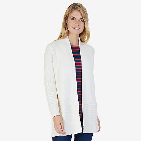 Long Ribbed Cardigan - Chalk