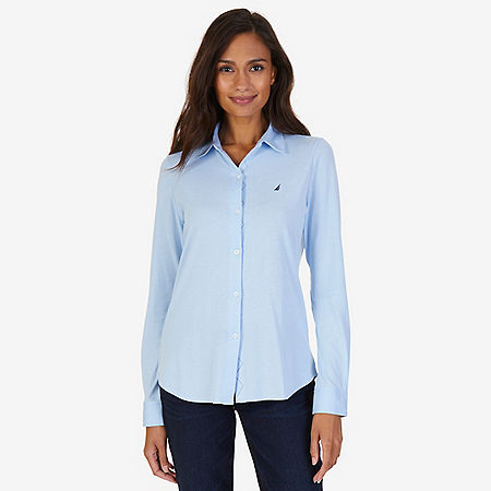 Button Down Perfect Shirt - Crystal Bay Blue