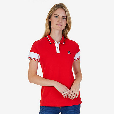 Stretch Cotton Short Sleeve Polo Shirt - Tomales Red