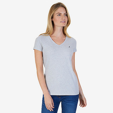 Solid V-Neck Tee - Grey