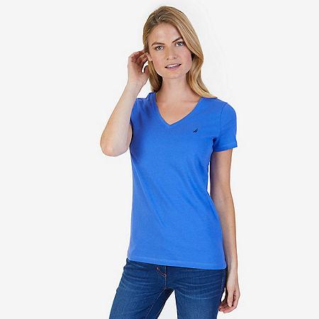 Solid V-Neck Tee - Blue Bonnet