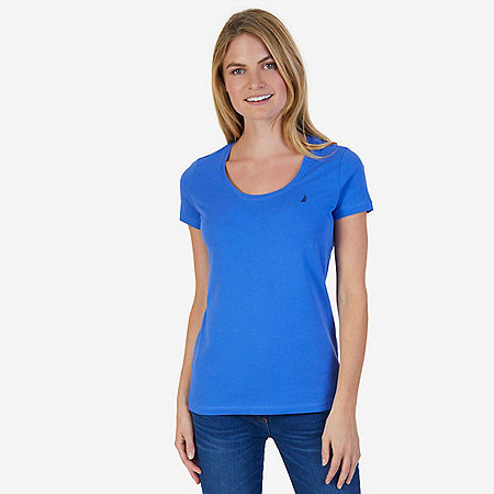 Short Sleeve Scoop-neck Tee - Blue Bonnet