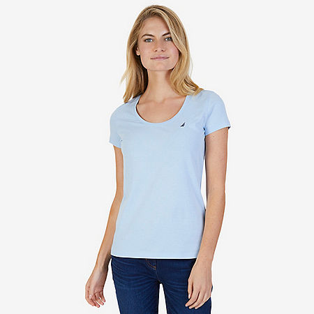 Short Sleeve Scoop Tee - Crystal Bay Blue