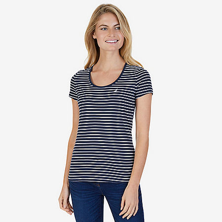 Striped Scoop Tee - Dreamy Blue