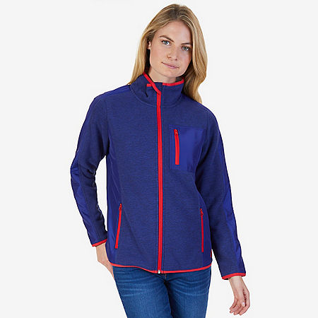 Sherpa Collar Marled Zip Nautex Fleece Jacket - Navy