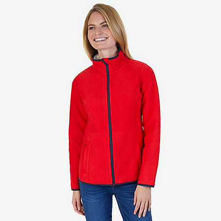 Embossed Rope Nautex Fleece - Tomales Red