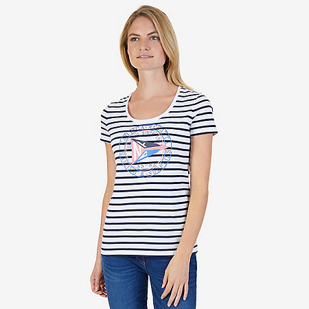 Regatta Stripe Short Sleeve Tee - Bright White