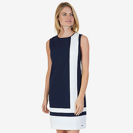 Short Sleeve Color Block Ponte Sheath Dress - Dreamy Blue
