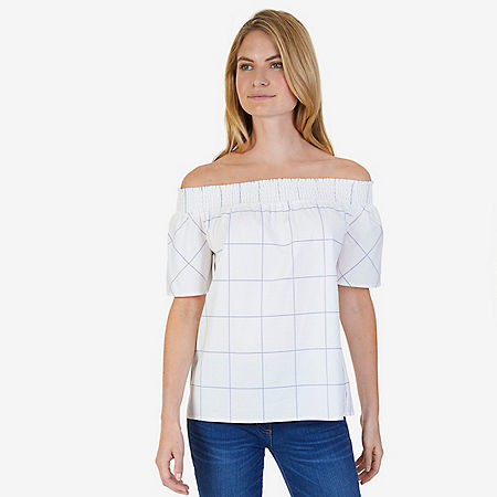 Short Sleeve Off-the-Shoulder Plaid Shirt - Blue Bonnet