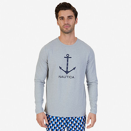 Slim Fit Long Sleeve Anchor Sleep T-Shirt - Grey Heather