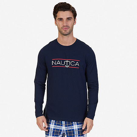 Slim Fit Long Sleeve Logo Sleep T-Shirt - Navy