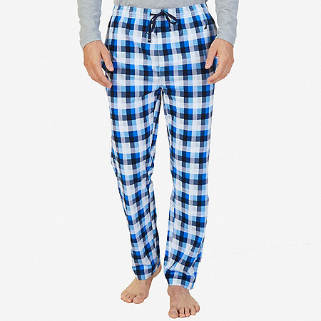 Plaid Sueded Jersey Pajama Pant - True Navy