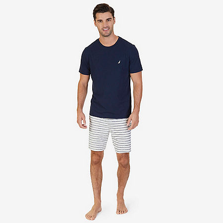 Solid Tee & Striped Pajama Short Set - Navy