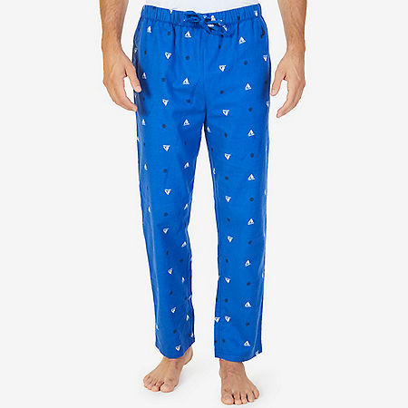 Sailboat Print Flannel Pajama Pant - Bright Cobalt