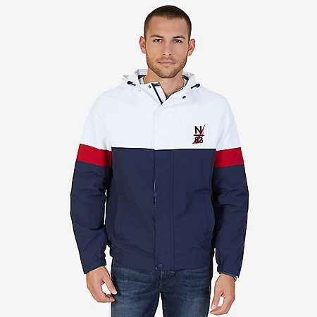 Hooded Colorblock Nylon Jacket - Navy