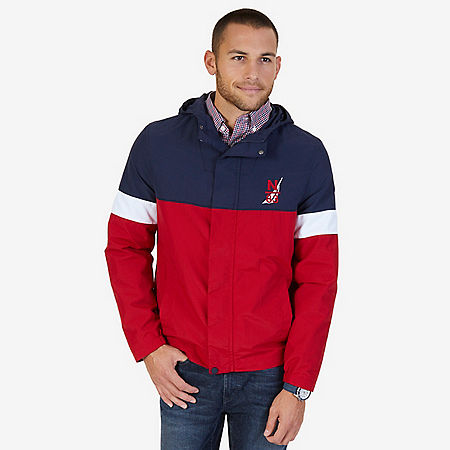 Hooded Colorblock Nylon Jacket - Nautica Red