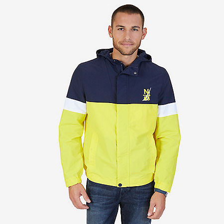Hooded Colorblock Nylon Jacket - Canary
