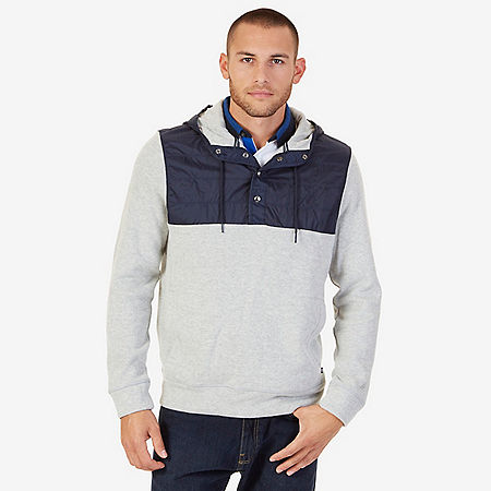 Pieced Pullover Hoodie - Grey Heather