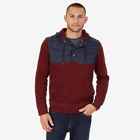 Pieced Pullover Hoodie - Royal Burgundy