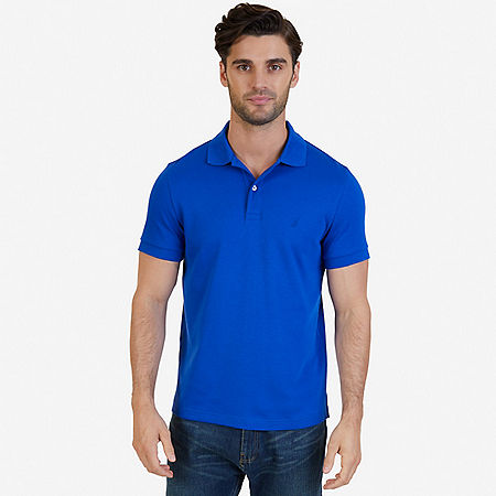 Slim Fit Interlock Polo Shirt - Bright Cobalt