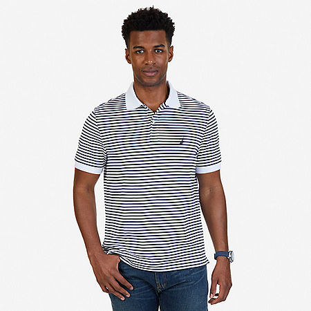 Classic Fit Striped Polo Shirt - Bright White