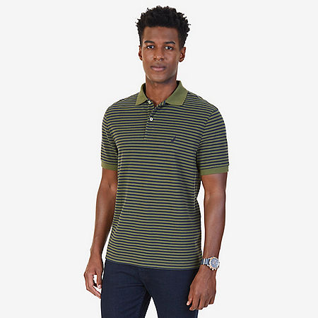 Classic Fit Striped Polo Shirt - Green Spruce