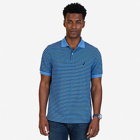 Classic Fit Striped Polo Shirt - Riviera Blue