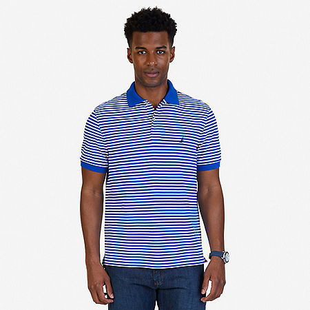Classic Fit Striped Polo Shirt - Bright Cobalt