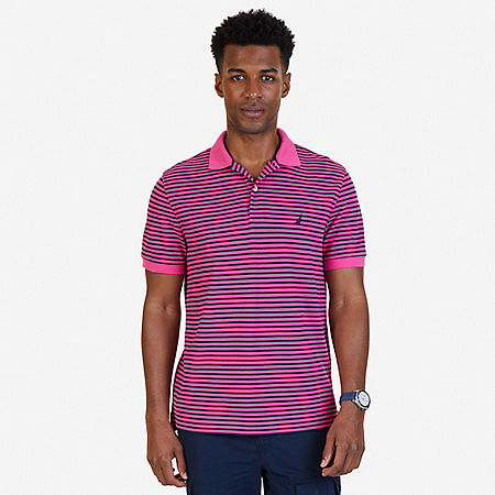 Classic Fit Striped Polo Shirt - Lotus