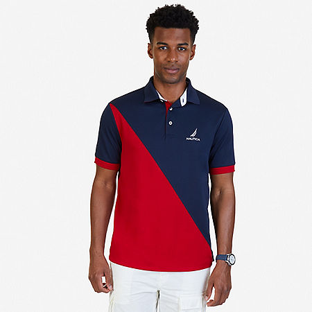 Classic Fit Diagonal Color Blocked Performance Polo Shirt - Navy