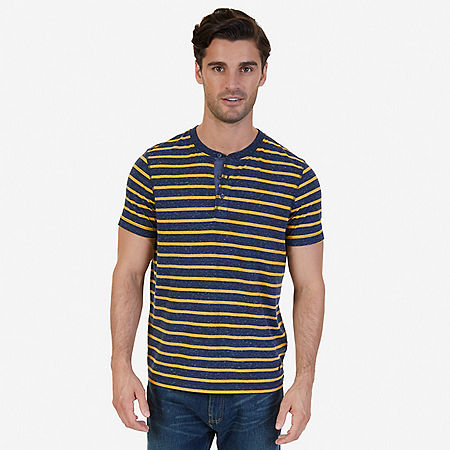 Slim Fit Striped Henley Shirt - Navy