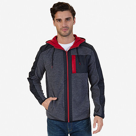 Color Block Zip-Front Hoodie - Charcoal Hthr