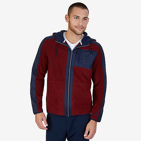 Color Block Zip-Front Hoodie - Nautica Red