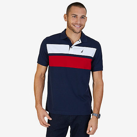 Classic Fit Chest Stripe Polo Shirt - Navy