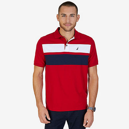 Classic Fit Chest Stripe Polo Shirt - Nautica Red